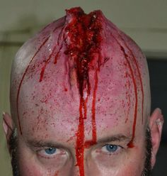 problemturtle: Splitting Headache Dad let me do some make-up on his bald head, haha!