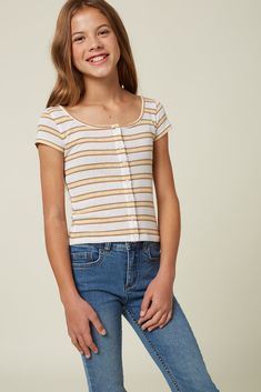 O'Neill Little Girl's knit top In length Center button closure Short sleeve Allover stripe print Cotton, Polyester Girls Fashion Clothes, Teen Girl Outfits, Tween Fashion, Hot Outfits, Trendy Outfits, Girl Fashion, Tween Girls Clothing, Clothes For Girls, Girls Pants