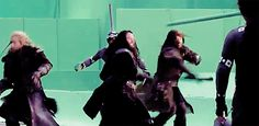I love how Fíli, Thorin and Kíli work so well as a team ! Fíli saves Thorin by deflecting a blade and Fíli and Kíli work together to kill off another baddie :)