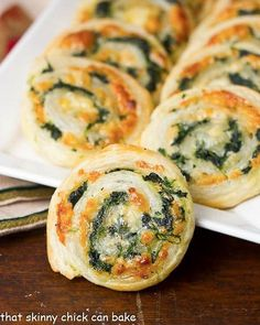 Muenster and Spinach Pinwheels   Butter puff pastry filled with spinach and cheese!