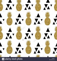 Download this stock vector: Seamless repeating pattern with gold glitter pineapples and black triangles on white background. Modern textile, greeting card,  - G305BC from Alamy's library of millions of high resolution stock photos, illustrations and vectors.