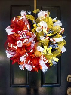 HOUSE DIVIDED Mesh Wreath Michigan by DesignTwentyNineSC on Etsy, $80.00 Wreaths For Sale, Mesh Wreaths, Holiday Wreaths, Holiday Decor, House Divided, Virginia Tech, Wreath Ideas, Martha Stewart, 4th Of July Wreath