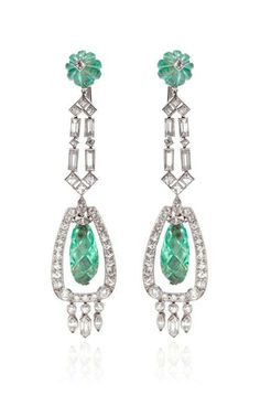 1930 Art Deco Emerald And Diamond Ear Pendants