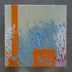 Original Abstract Oil Painting Happy Tiles - Orange Stripe on gallery stretched canvas, no need for framing - 8x8in; approx. 20x20cm
