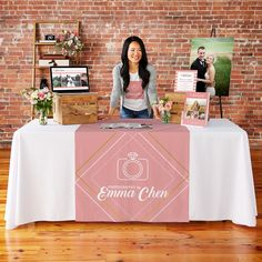 Stand out at a trade show, farmer's market, or any event with a custom table runner from Vistaprint. Choose from one of our professional designs or upload your own. Craft Show Table, Craft Fair Table, Craft Show Booths, Wedding Expo Booth, Bridal Show Booths, Vendor Displays, Craft Booth Displays, Clothing Booth Display, Display Ideas
