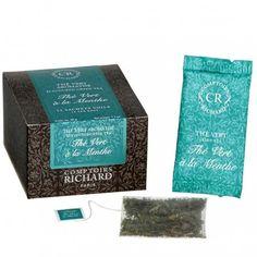 Thé vert à la menthe - Comptoirs RICHARD - Boîte de 40 sachets voiles Sachets, Decorative Boxes, Countertops, Mint, Green, Decorative Storage Boxes