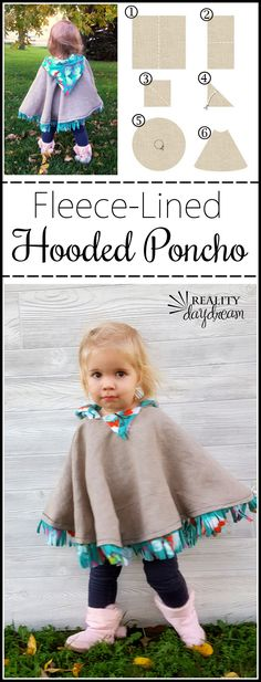 This fleece-lined hooded poncho could be a jacket OR winter coat for a toddler! … This fleece-lined hooded poncho could be a jacket OR winter coat for a toddler! And sooooo cute! {Reality Daydream} Pin: 200 x 522 Love Sewing, Sewing For Kids, Sewing Tips, Sewing Ideas, Sewing Hacks, Toddler Sewing Patterns, Cute Sewing Projects, Clothes Patterns, Sewing Tutorials