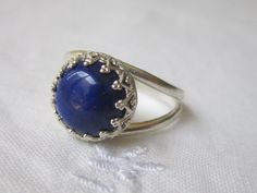 Blue Lapis ring sterling silver ring Vintage by EldorTinaJewelry, $53.00