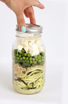 26 Healthy and Portable Mason Jar Meals Coconut-Lime Avocado Zucchini Noodle Salad With Quinoa, Peas Mason Jar Lunch, Mason Jar Meals, Meals In A Jar, Mason Jars, Salad In A Jar, Soup And Salad, Zucchini Noodles Salad, Zucchini Quinoa, Zuchinni Noodles