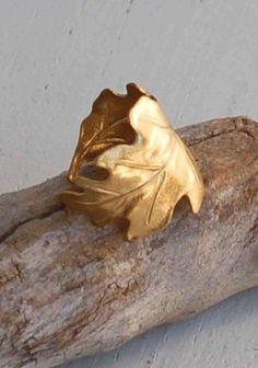 Golden LEAF Ring Romantic Vintage Style Leaf by redtruckdesigns