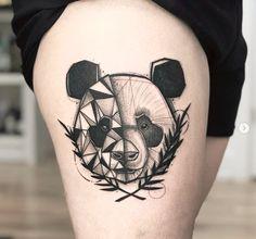 Panda Geometric Tattoo - Tattoo ideen - Tattoo World Panda Tattoos, Animal Tattoos, Geometric Tattoo Panda, Geometric Tattoo Design, Geometric Tattoo Flash, Tattoo Abstract, Geometric Flower, Trendy Tattoos, Small Tattoos