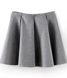 jupe évasée plissée -gris  EUR€15.35