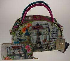 Nicole Lee Europe Print Bowler Handbag & Wallet Set Eiffel Tower Paris EUR10408 #NicoleLee #ShoulderBag