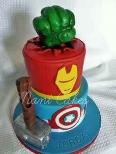 Avengers themed The Hulk Thor Ironman Captain America fondant. Rice krispies hulk fist and hammer