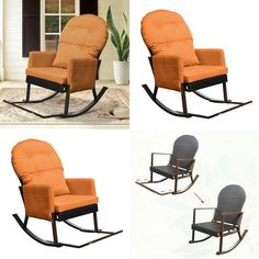 Outdoor Wicker Rocking Recliner Chair With Foot Rest Glider Patio Armchair Loun for sale online Garden Chairs, Gliders, Foot Rest, Rocking Chair, Recliner, Wicker, Armchair, Relax, Patio
