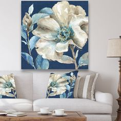 Shop Designart 'Indigold Watercolor Flower I' Farmhouse Gallery-wrapped Canvas - Grey - On Sale - Overstock - 25705855 - 30 in. wide x 30 in. Flower Painting Canvas, Blue Painting, Flowers On Canvas, Peony Painting, Watercolor Flowers, Watercolor Art, Watercolor Portraits, Watercolor Landscape, Calla