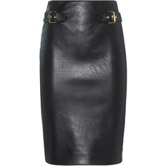 MOSCHINO Pencil Buckle Black // Fake leather pencil skirt ($595) ❤ liked on Polyvore featuring skirts, high waisted knee length skirt, high-waisted skirts, slim skirt, high-waisted pencil skirts and high-waist skirt