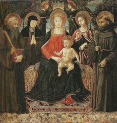 Franciscaanse heiligen | Benozzo Gozzoli, Madonna met kind op troon ca. 1480-85 ...