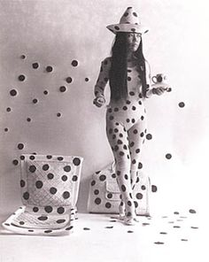 Yayoi Kusama, Self-Obliteration by Dots (detail), 1968, performance, documented with black-and-white photographs by Hal Reif.