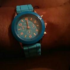 Watch Powder blue rubber band watch Geneva Accessories Watches