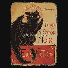 Le Dragon Noir Tshirt (Toothless) | Redbubble