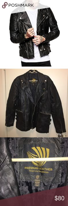 Men's lambskin leather black motorcycle jacket L 100% lambskin genuine leather, brand new condition. Lambskin leather is soft and comfortable to wear. Cool zippers and buckles. Soft leather but very structured. Size L. Awesome coat worn a few times only. premium leather Jackets & Coats Bomber & Varsity