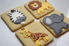 Jungle Animals.    By iBakery - Decorated Sugar Cookies, Yellow lion, Yellow giraffe, Grey Elephant, zebra