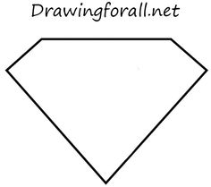 how to draw superman sign step by step