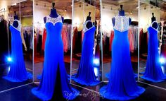 Royal Blue Formfitting Prom Dress-High Beaded Neck at Rsvp Prom and Pageant, Atlanta, GA. This stunning royal blue evening gown has an illusion bodice and a sweetheart lining creating a timeless and chic look. The beautiful neckline is embellished with royal blue jewels and sparkling rhinestones and the formfitting skirt sports a high sexy slit. Buy it HERE at http://rsvppromandpageant.net/collections/long-gowns/products/royal-blue-formfitting-prom-dress-high-beaded-neck-115ec0151700