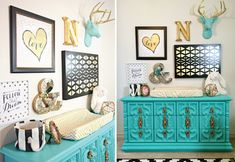 Black, Gold and Aqua Nursery Gallery Wall - everything in this gallery wall (except deer head) is from @hobbylobby! Score.