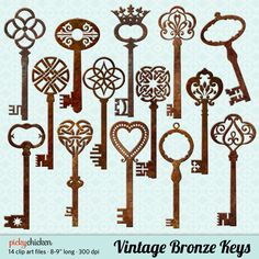 Vintage Bronze Keys clip art - 14 rusty metal 3D skeleton key Celtic Victorian French