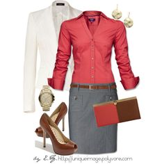 Brown Color Block Purse, created by uniqueimage on Polyvore.  I love the professional look of it and the colors!