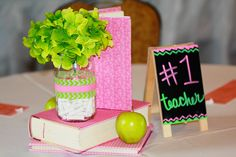 Teacher's Retirement Party I used mini easel chalkboards, and covered books to create the centerpieces for the tables.  #teacher #retirement #centerpieces