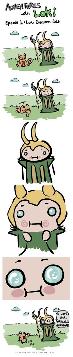 Adventures with by LilClownie on deviantart.what if the cat's name is also Loki?Would that be a good thing or a bad thing? Marvel Funny, Marvel Memes, Marvel Dc Comics, Marvel Avengers, Avengers Memes, Loki Thor, Loki Laufeyson, Tom Hiddleston Loki, Star Lord