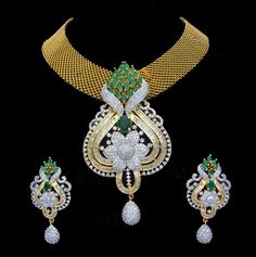 Indian CZ AD Gold & Silver Bollywood Famous Bridal Necklace Set Swam Jewelry 188