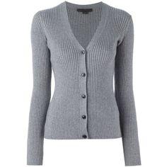 Alexander Wang v-neck cardigan ($740) ❤ liked on Polyvore featuring tops, cardigans, grey, alexander wang, alexander wang top, grey cardigan, long sleeve v neck cardigan and long sleeve tops