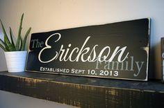 Family Established Sign, First Name Last Name Sign, Est. Sign, Rustic Wood Sign Finish