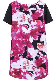Rose Red Round Neck Short Sleeve Floral Straight Dress