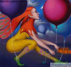 Figurative art by Jose De La Barra: 'Flotando' fine art print