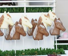 Horse Chocolate Lollipops.  Cute clustered together atop a field of grassy stuff.
