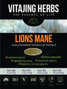 Lions Mane Mushroom Extract Powder (2oz-57gm) 20:1 Concentration