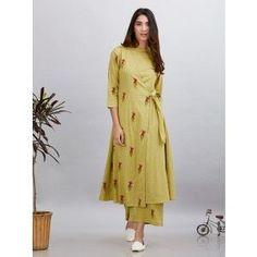 Olive Green Magenta Block Printed Cotton Mulmul Wrap Kurta with Palazzo - Set of 2 Kurta Designs, Blouse Designs, New Suit Design, Kurta Neck Design, Couture Sewing, Indian Designer Wear, Indian Dresses, Indian Wear, Printed Cotton