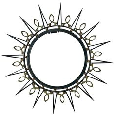 Exceptional 1950's Arturo Pani, Iron and Solid Brass Accents , Mirror | From a unique collection of antique and modern sunburst mirrors at https://www.1stdibs.com/furniture/mirrors/sunburst-mirrors/