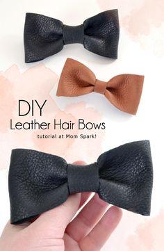 DIY Leather Hair Bows Tutorial #crafts #diy #bows