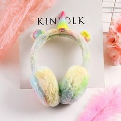 d3099c27dde Unicorn Gradient Plush Warm Earmuffs For Kids Ear Warmers