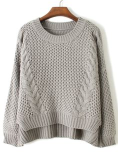 grey long sleeve cable knit dipped hem sweater