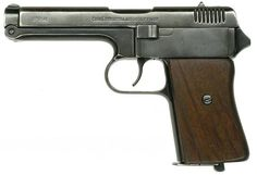 The vz. 38 is a Semi-automatic pistol manufactured from 1939 until 1945 chambered in .380 ACP (in Europe called 9×17mm Browning Short). The barrel is attached to the frame by a hinge, allowing for very easy disassembly.