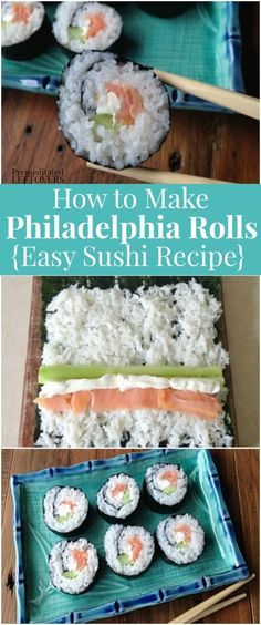 Use this Philadelphia Roll Sushi recipe and step by step tutorial to make Philadelphia sushi rolls that are easy to make at home. Philly roll sushi is made with smoked salmon, cucumber, and cream cheese, rolled in homemade sushi rice, and a sheet of nori. Easy Sushi Rolls, Homemade Sushi Rolls, Cooked Sushi Rolls, Cucumber Sushi Rolls, Healthy Sushi Rolls, Shrimp Sushi Rolls, Making Sushi Rolls, Sushi Rice Recipes, Seafood Recipes