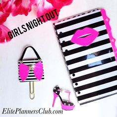 http://www.eliteplannersclub.com/  Glamour Planner paper clips.  Eliteplannersclub... Gold, pink, and black planner paperclips, great for planner kikki k planner , filofax planner , mambi planner, louis Vuitton planner, Marion Smith Planner