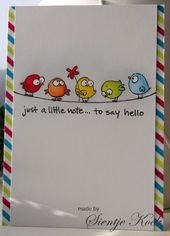 Handmade Journals Cute little birds from Basik and Ko Diy And Crafts, Paper Crafts, Karten Diy, Doodles, Bird Cards, Little Birds, Watercolor Cards, Watercolour, Cute Cards